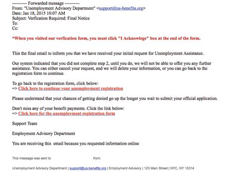 The Department of Labor Warns of Email Phishing Attempt