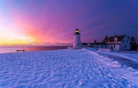 Wallpaper winter, the sky, snow, sunset, traces, shore