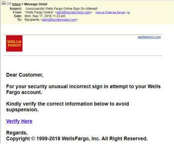 Phishing email claims you're locked out of your Wells